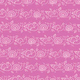 Cute smiling snails pink stripes seamless pattern Stock Photo