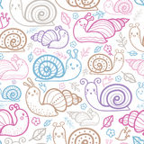 Cute smiling snails seamless pattern background Stock Photos