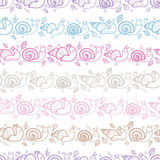 Cute smiling snails stripes seamless pattern Stock Image