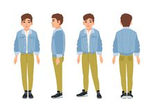 Cute smiling teenage boy, teen or teenager dressed in green jeans and denim jacket. Flat cartoon character isolated on. White background. Front, side and back Royalty Free Stock Image