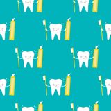 Cute smiling tooth character with brush and toothpaste seamless pattern background stock illustration