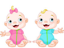 Cute smiling twins Stock Images