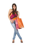 Cute smiling woman in shopping Stock Photos