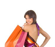 Cute smiling woman in shopping Royalty Free Stock Image