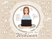 Cute smiling woman siting in a free pose and holds a webinar. Stock Photography
