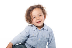 Cute Smiling Young Boy in Long Sleeve T-Shirt Royalty Free Stock Photos