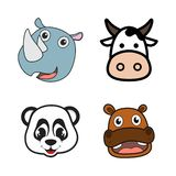 Cute smilling animals head icons for child birthday. Wildlife funny cartoon and vector design. Vector illustration EPS.8 EPS.10 royalty free illustration