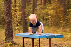 Cute smirking toddler playing on the bench in the autumn or summer park Royalty Free Stock Photography