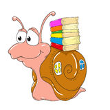 Cute snail character from the books. Snail student. Vector isolated Royalty Free Stock Photos