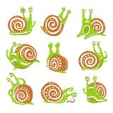 Cute snail character set, funny mollusk with different emotions colorful hand drawn vector Illustrations Stock Photos