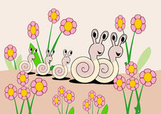 Cute Snail Family Royalty Free Stock Photography