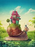 Cute snail with house. In fairytale land