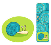Cute snail illustration and bookmark Stock Photography
