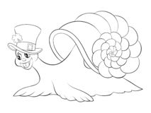 Coloring page,book a cute snail image for children,line art style illustration for relaxing. stock illustration