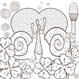 Cute snails adult coloring book page. Vector illustration. Royalty Free Stock Image