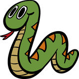 Cute Snake. Simple colorful stylized cartoon of a happy snake Stock Photography