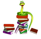 Cute Snake cartoon character with book stack Stock Photo