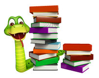 Cute Snake cartoon character with book stack Stock Photography