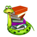 Cute Snake cartoon character with book stack Stock Photos