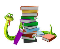 Cute Snake cartoon character with book stack Royalty Free Stock Photography