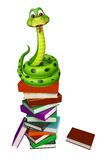 Cute Snake cartoon character with book stack Stock Image