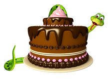 Cute Snake cartoon character with cake Stock Photos
