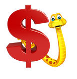 Cute Snake cartoon character with dollar sign Stock Photo