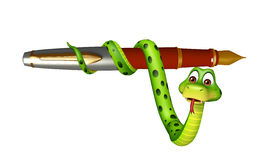 Cute Snake cartoon character with pen. 3d rendered illustration of Snake cartoon character with pen Royalty Free Stock Photography