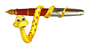 Cute Snake cartoon character  with pen Royalty Free Stock Photos