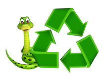 Cute Snake cartoon character with recycle Stock Photo