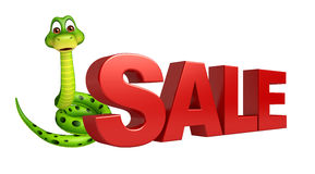 Cute Snake cartoon character with sale sign Royalty Free Stock Photo