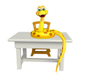 Cute Snake cartoon character with table and chair Stock Image
