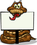 Cute Snake holding sign Stock Images