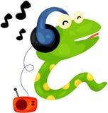 Cute snake listening music. Illustration of isolated cute snake listening music Royalty Free Stock Images
