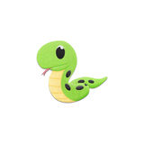 Cute snake is reptile animal cartoon in the zoo of paper cut Royalty Free Stock Photos