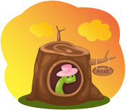 Cute snake in stump house Royalty Free Stock Photos