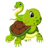 Cute snake and turtle. Illustration of cute snake and turtle Royalty Free Stock Photo