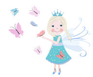 Cute snow fairytale with butterflies. Spring time vector background Stock Photography