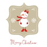 Cute snow girl Christmas card Royalty Free Stock Image