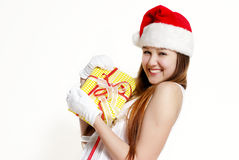 Cute Snow Maiden with a gift box Stock Photography