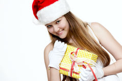 Cute Snow Maiden with a gift box Stock Images