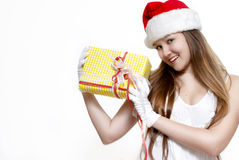 Cute Snow Maiden with a gift box Royalty Free Stock Images