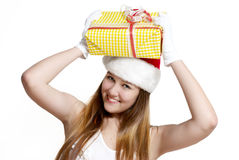 Cute Snow Maiden with a gift box Stock Photos