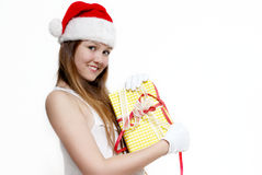 Cute Snow Maiden with a gift box Royalty Free Stock Photos