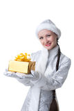 Cute Snow Maiden posing with gift box Stock Photo