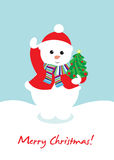 Cute snow man holding christmas tree Stock Image