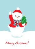 Cute snow man holding christmas tree. Card Stock Image