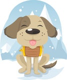 Cute Snow Rescue dog Hero. Cute Snow Rescue Hero Helping Trained Dog Canine Puppy  illustration Stock Photo