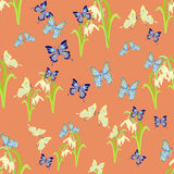 Cute snowdrops and butterflies seamless vector pattern Stock Photos