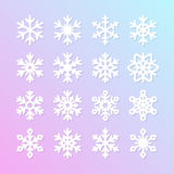 Cute snowflake collection isolated on blue background. Flat snow icons, snow flakes silhouette. Nice element for christmas banner, Stock Images